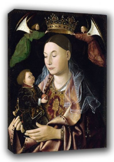 Da Messina, Antonello: Madonna with Child. Religious Fine Art Canvas. Sizes: A3/A2/A1 (00431)